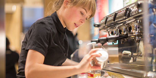 McDonald's Employee Making a Coffee Beverage