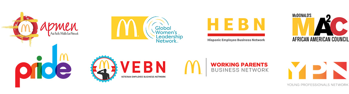 Logos for Global Woman's Leadership Network, McDonald's African American Council, Asia Pacific Middle East Network, National Hispanic Network, Pride, Working Parents Business Network, Veteran Employee Business Network, Young Professionals Network, Global People