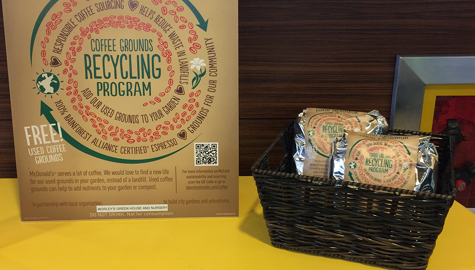 Coffee grounds recycling program