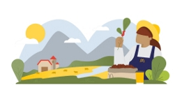 Illustration of a farmer holding a coffee plant in front of a field with cows